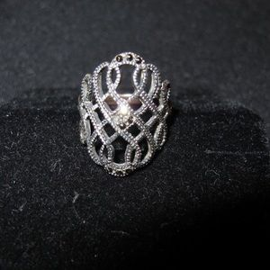 SS marcasite scroll detail ring
